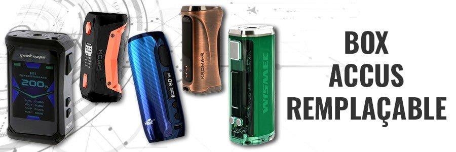 Box cigarette électronique accus remplaçables, e-cigarette batterie amovible