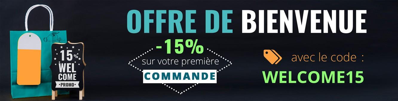 Bénéficier de 15% de remise sur votre première commande avec le code WELCOME15